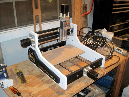 MicroCarve A4 CNC router with stepper motors attached, ready for testing.