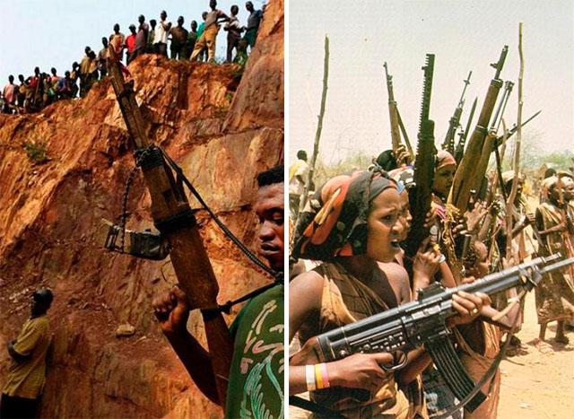 DIY rifle (left picture) -