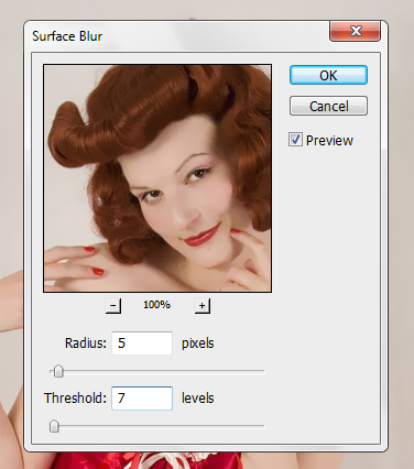 Ajustes do filtro Surface Blur