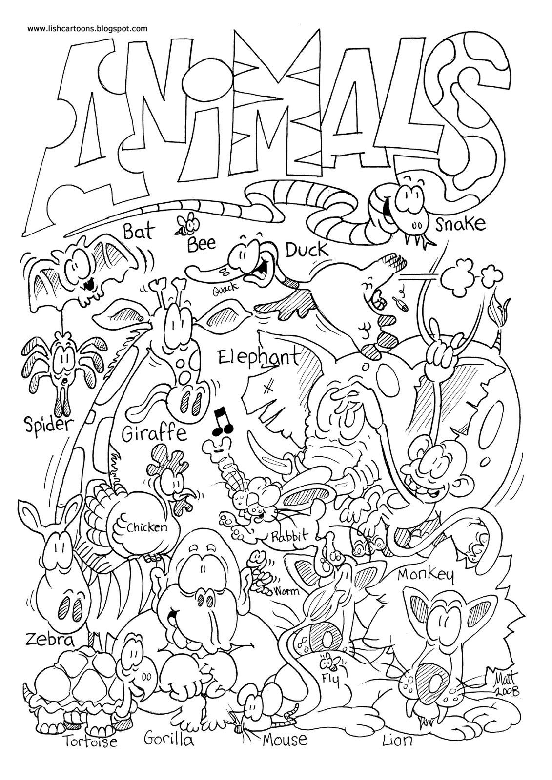 Wild Animals Printable Worksheets for ESL Kids