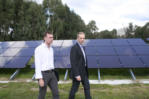simon corbell with solar panels