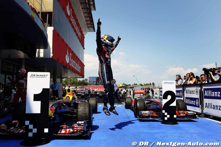 Себастьян Феттель прыжок Red Bull McLaren Каталунья Гран-при Испании 2011