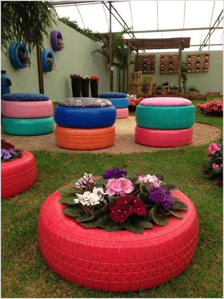 Чем покрасить шины для цветов