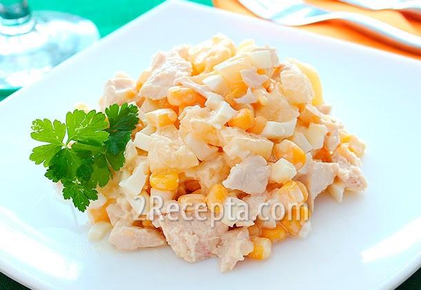 Яйца курица кукуруза ананас салат