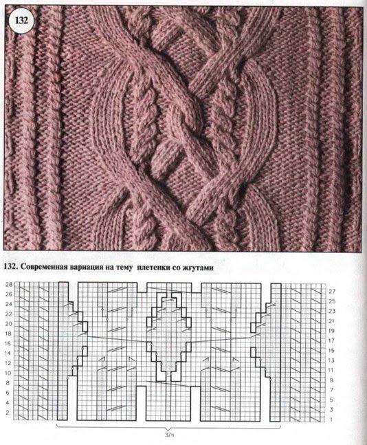 Вязание крупные ромбы спицами и жгуты красивые переплеты 76