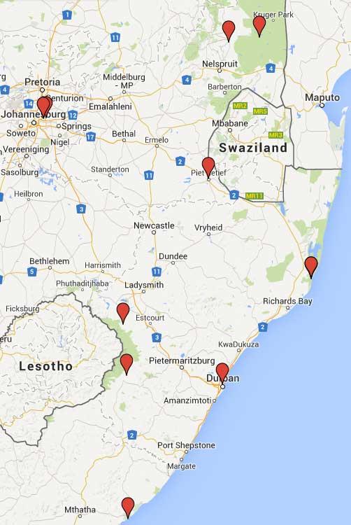 kaart van het noord-oosten van Zuid Afrika met gemerkte verblijfplaatsen