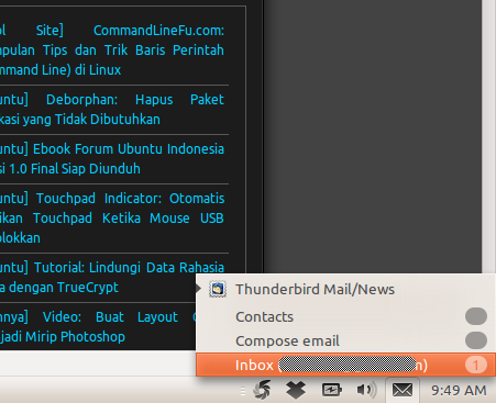 Thunderbird Indicator di Ubuntu 10.10