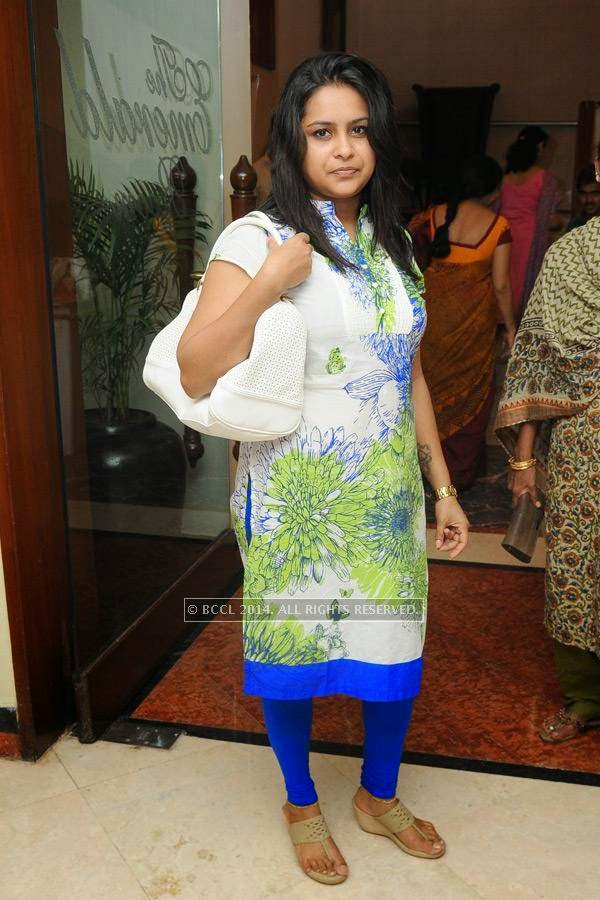 Pooja poses during a lifestyle exhibition, in Hyderabad.