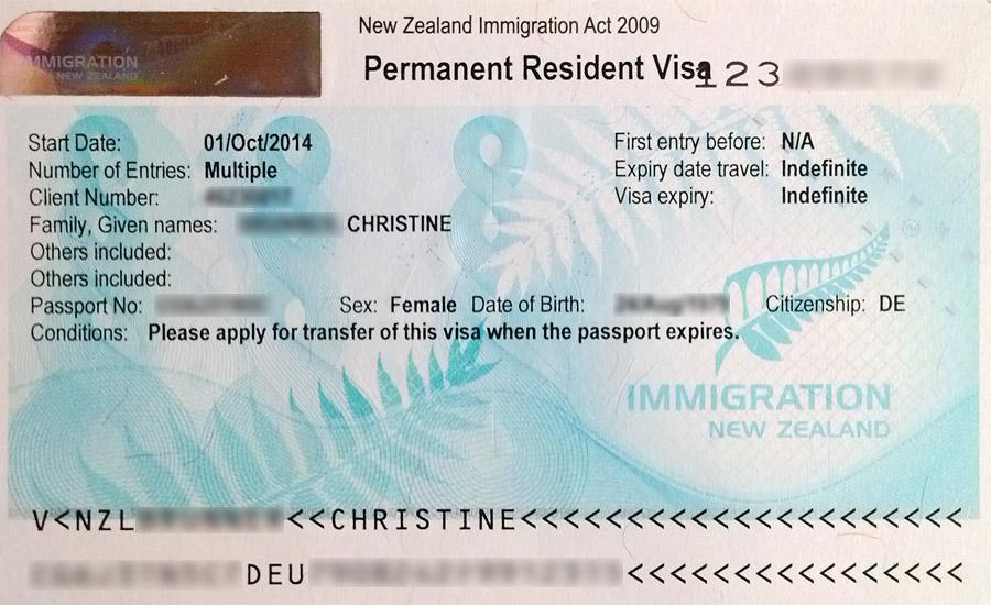 Permanent Residence Visa für Neuseeland
