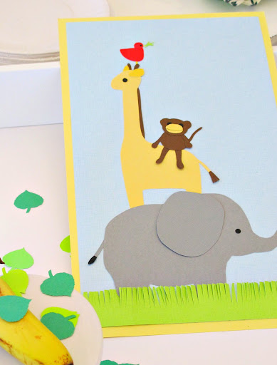 A card Tracy made for our coworker who had a jungle-themed shower and nursery.