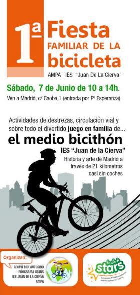 Fiesta familiar de la bicicleta. Primer medio bicithón. Sábado 7 de junio