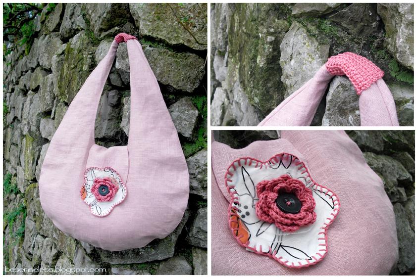 borse in cotone (stoffe ikea) Borsa+rosa+con+fiore+uncinetto