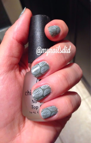 green leaves nature inspired stamping manicure