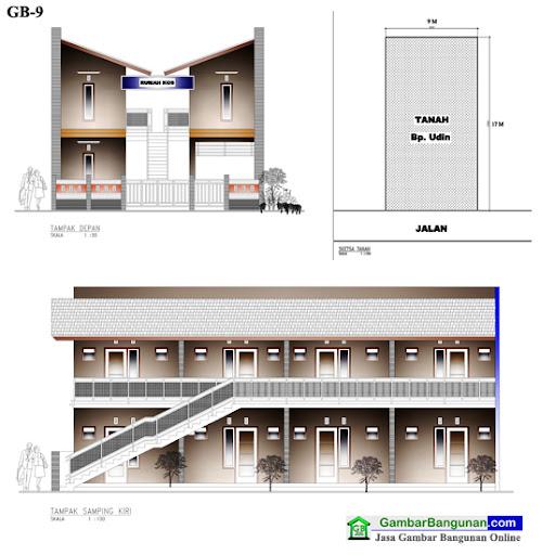 desain rumah kos minimalis 2 lantai
