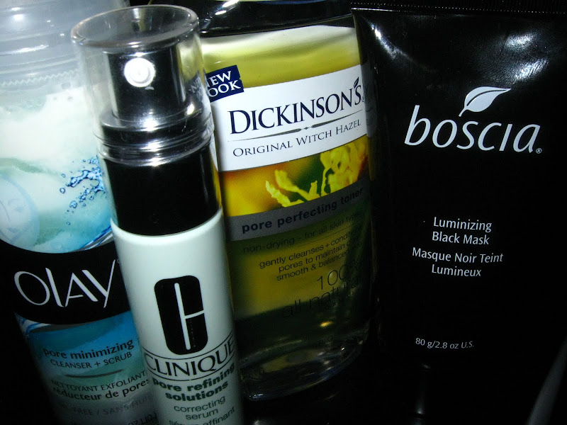 Dickinson's Original Witch Hazel Pore Perfecting Toner, Olay Pore Minimizing Cleanser + Scrub, Clinique Pore Refining Solutions Correcting Serum, Boscia Luminizing Black Mask