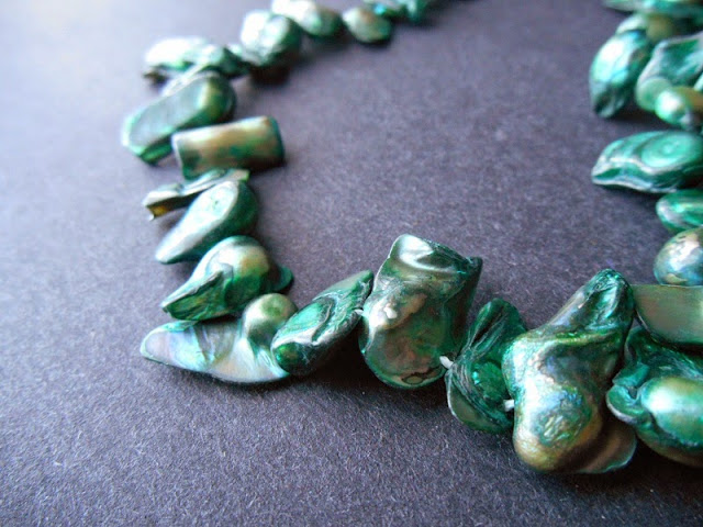 Forest Green Baroque Freshwater Pearls