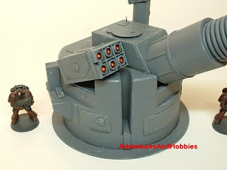 Close up of defensive missile array on heavy cannon turret Science Fiction war game terrain and scenery