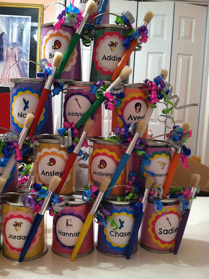 pinkie and the bean diy art party paint can favors