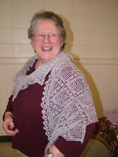 Alice happily posing in her beautiful knitted lace shawl