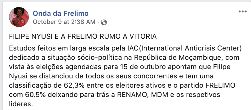 post from Onda da Frelimo (Wave of Frelimo) describing the results of a poll purportedly conducted by the International Anticrisis Center, a Russian organization
