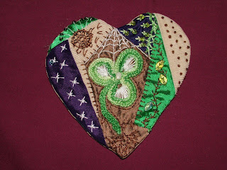 Mary's Crazy quilt heart with Romanian Point Crochet