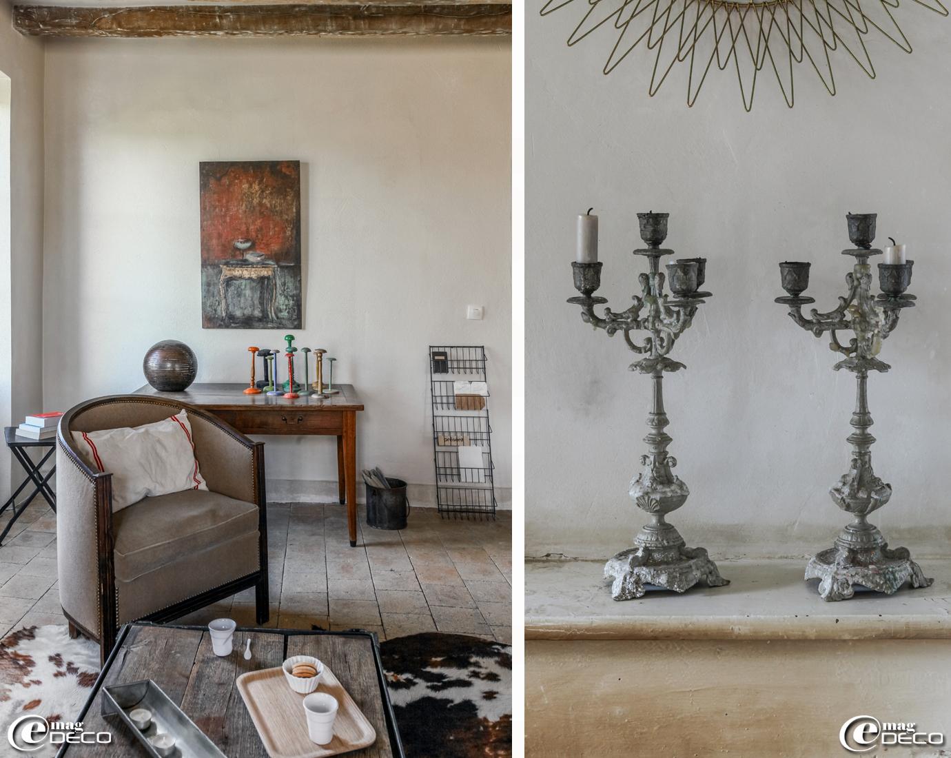 Toile de l'artiste peintre Diane de Valou, petite table noire 'Chehoma'
