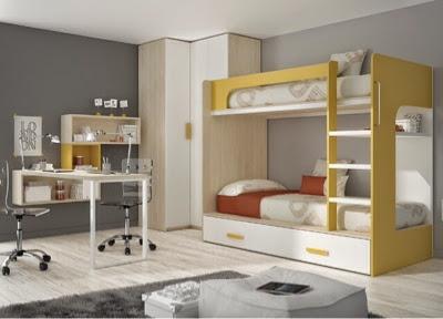 dormitorio con litera,armario de rincon y mesa de estudio