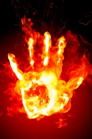 Hand on Fire Picture Wallpaper For iPhone