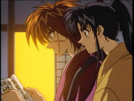 Kenshin's feeling pretty guilty, now that he's realizing that he let Yahiko sneak away with his sword when he probably shouldn't've.