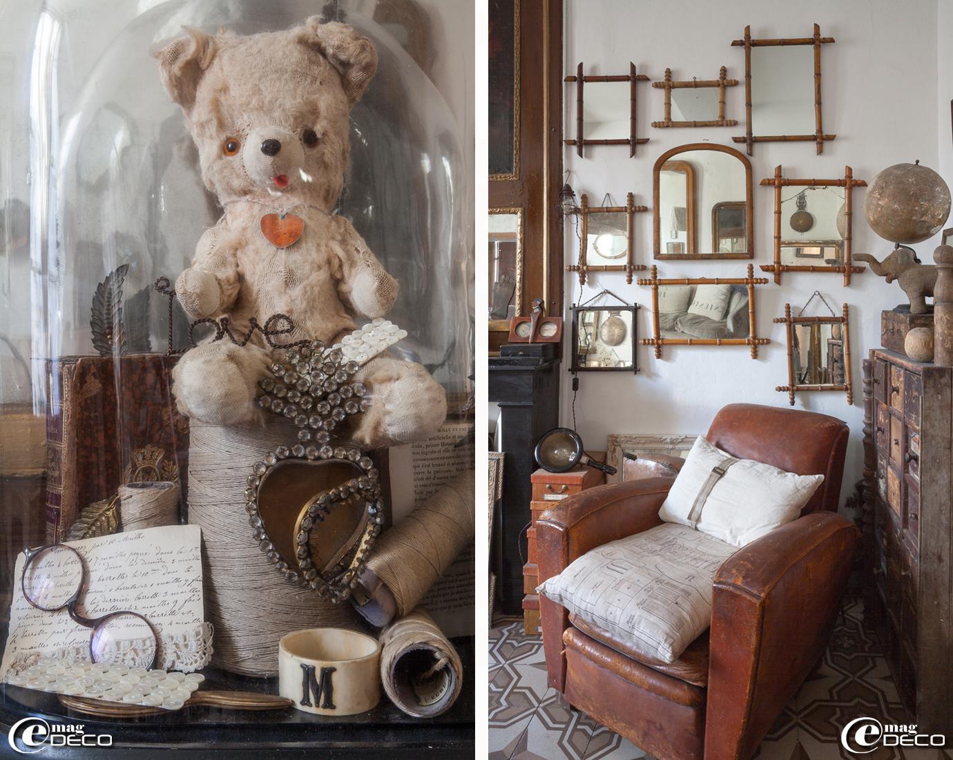 Collection d'anciens miroirs 'bambou', fauteuil club en cuir chiné chez 'Roberto la Brocante' à Uzès