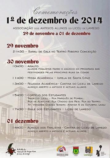 Programa - Comemorações do 1º de Dezembro - 2014 - Lamego