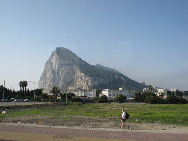 Sighting of the Rock of Gibraltar, UK from the border of Spain at the Linéa de Concepción
