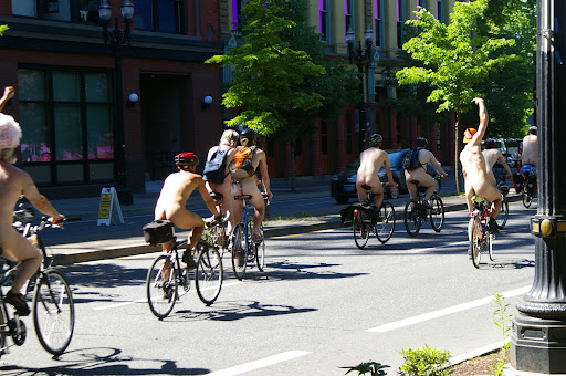 Portlandia, where people ride naked