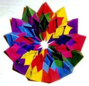 Origami modular 4 five intersecting tetrahedron