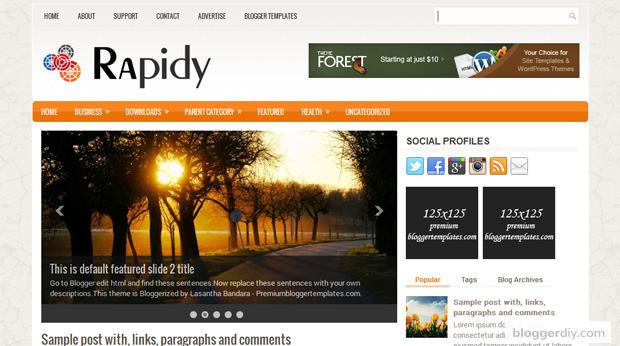 Rapidly Blogger template