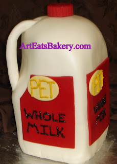 Unique custom fondant 3D milk jug Groom's cake design