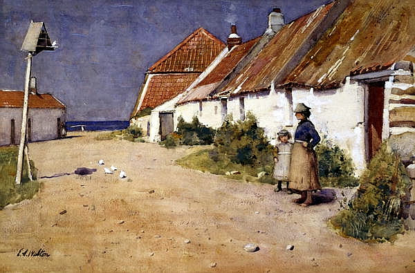 Edward Arthur Walton - Seaside Cottages With Dovecot