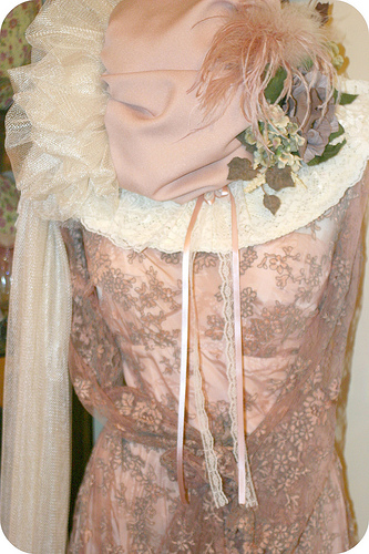 vintage lace nude dress