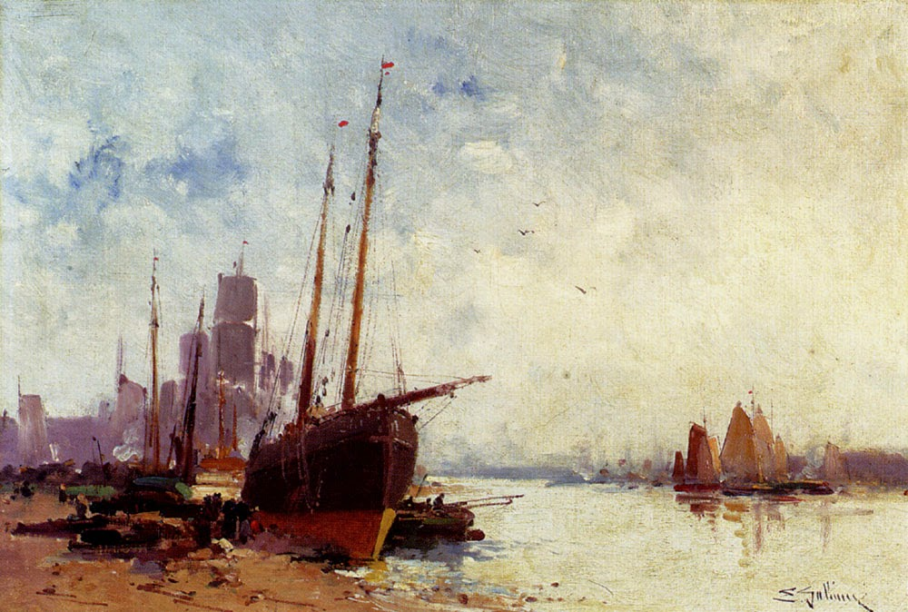 Eugène Galien-Laloue - Shipping In The Docks