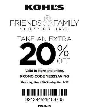 kohls friends and family coupon March 2015
