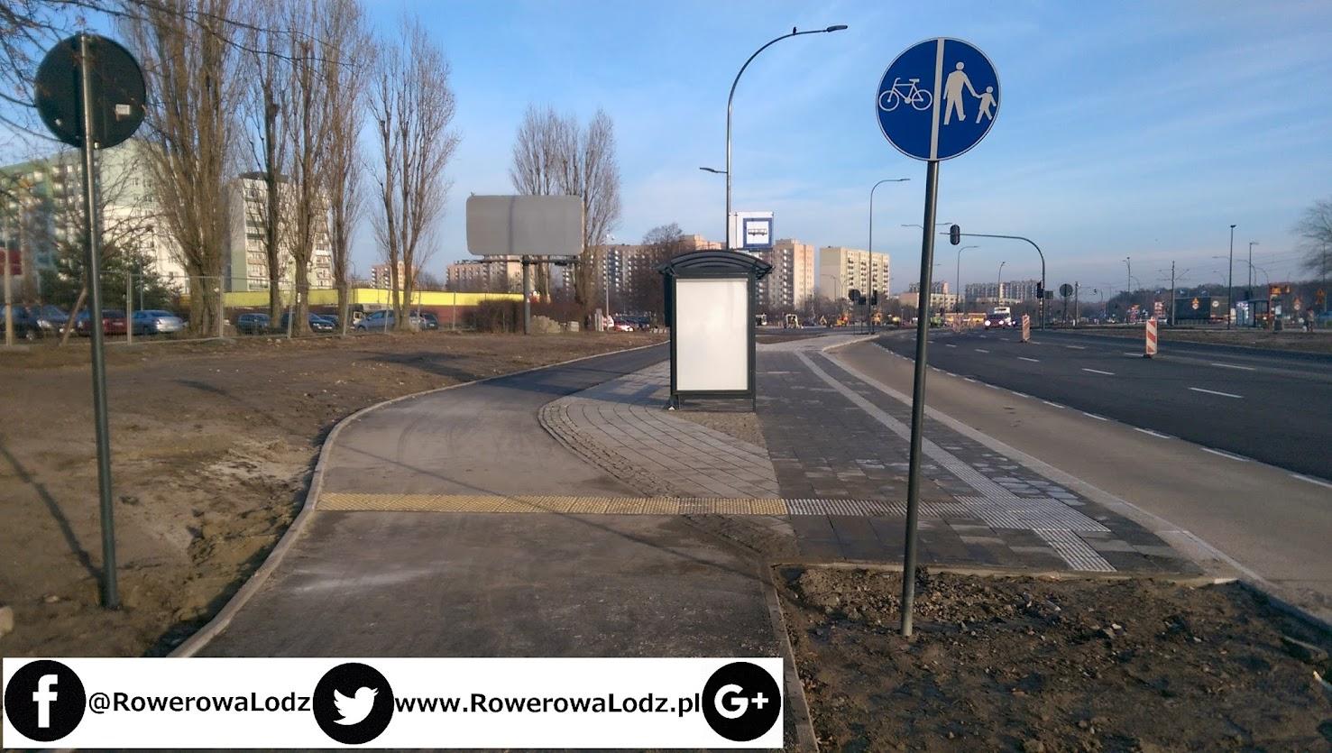 Chodnik oddzielony od DDR pojawia się dopiero przy przystanku MPK