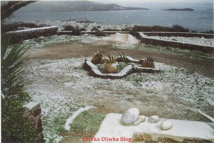 opady śniegu, Mykonos