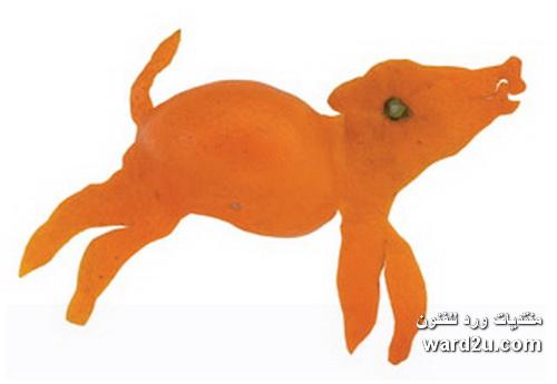 النحت على قشر اليوسفى للفنان Yoshihiro Okada