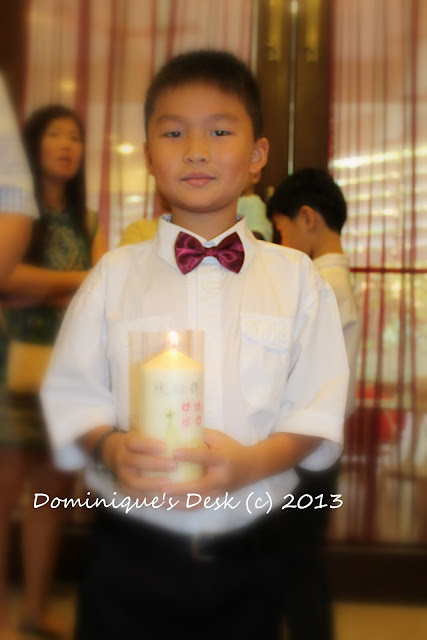 With his candle