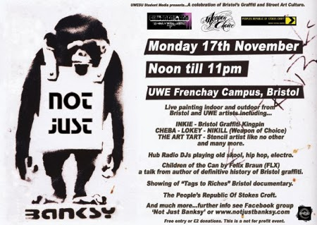 Not Just Banksy - Inkie, Cheba, Lokey, Nikill, Boswell, KTF crew, The Art Tart - 17th november 2008 @ UWE Frenchay Campus, Bristol.