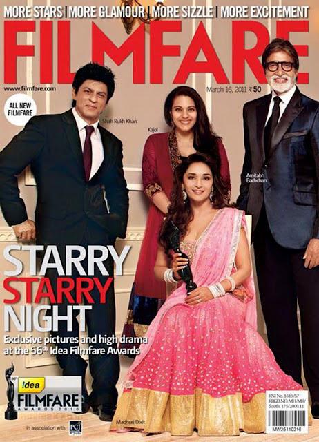 Madhuri Dixit, Kajol, Shahrukh Khan and Amitabh Bachchan on Filmfare Magazine Cover Page March 2011