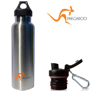 Convertible Vacuum Insulated Stainless Steel Water Bottle with two Interchangeable Caps - 22oz / 650ml - Double Wall, Sports Bottle and Thermal Bottle - Cold / Hot Fluids