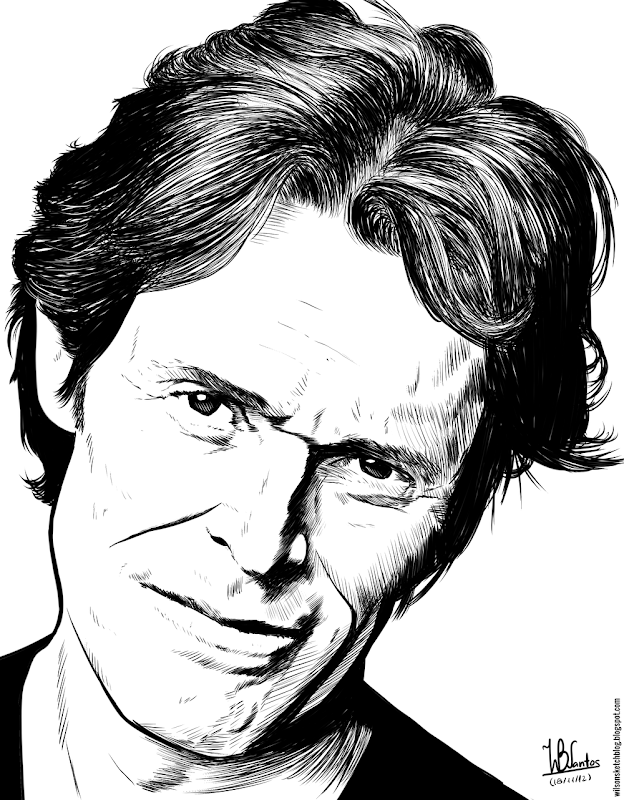 Ink drawing of Willem Dafoe, using Krita 2.4.