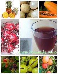 ชาผลไม้ 7 ชนิด ใน 1 ซองชง กระเจี๊ยบแดง สับประรด มะละกอ ลำไย ลูกหม่อน ฟักข้าว และ มะขามป้อม