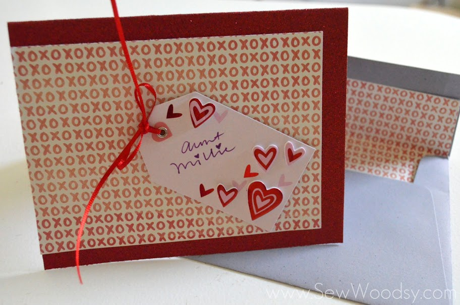 12 Months of Martha -- Valentine's Day Card w/ Lined Envelope via @SewWoodsy #12MonthsOfMartha #MarthaStewartCrafts #CardMaking